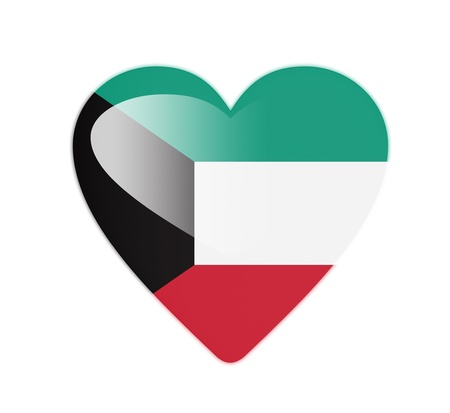 Kuwait 3D heart shaped flag photo