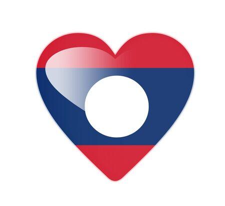 Laos 3D heart shaped flag photo