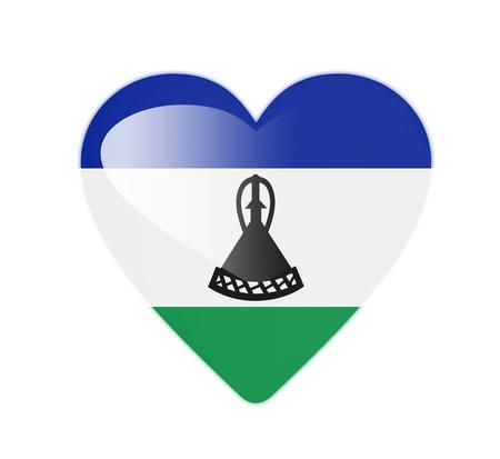 Lesotho 3D heart shaped flag photo