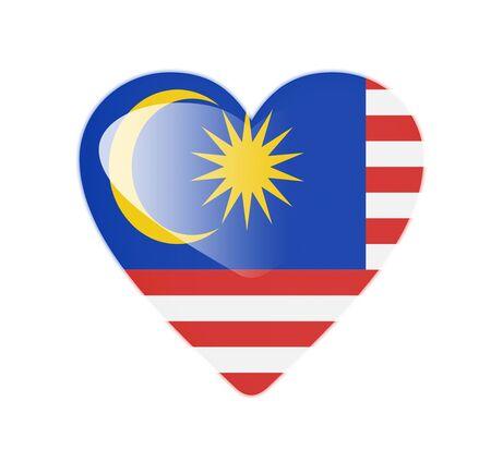 malaysia culture: Malaysia 3D heart shaped flag
