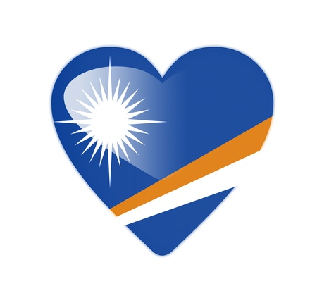 marshall: Marshall Islands 3D heart shaped flag Stock Photo
