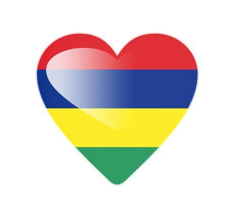 mauritius: Mauritius 3D heart shaped flag
