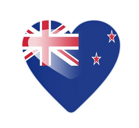 New Zealand 3D heart shaped flag photo
