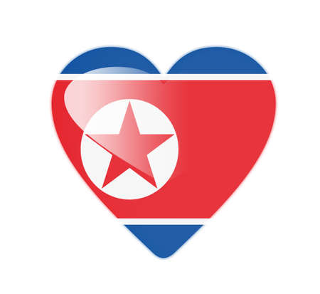 North Korea 3D heart shaped flag photo