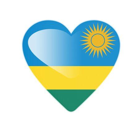 Rwanda 3D heart shaped flag photo