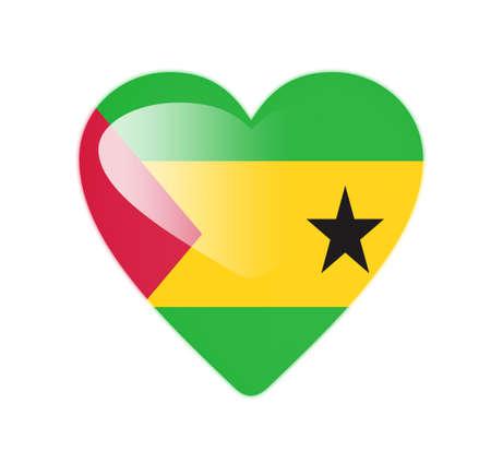tome: Sao Tome and Principe 3D heart shaped flag Stock Photo
