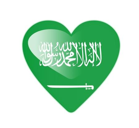 Saudi Arabia 3D heart shaped flag photo