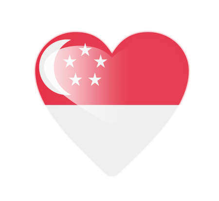 Singapore 3D heart shaped flag Stock Photo - 13245754