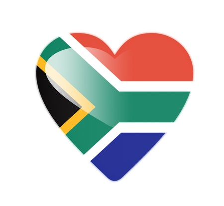 shiny hearts: South Africa 3D heart shaped flag Stock Photo