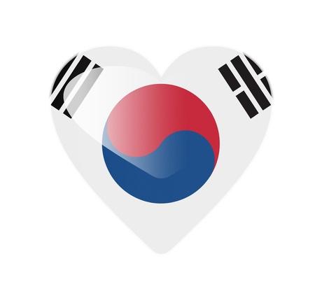 South Korea 3D heart shaped flag photo