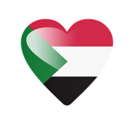 Sudan 3D heart shaped flag photo