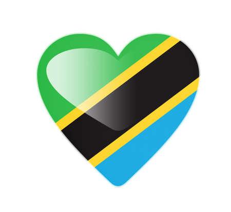 Tanzania 3D heart shaped flag photo