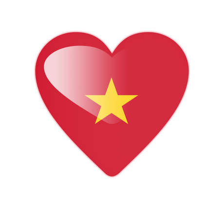Vietnam 3D heart shaped flag photo