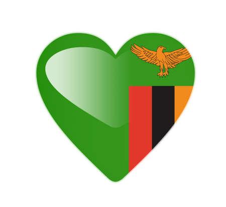 zambia: Zambia 3D heart shaped flag