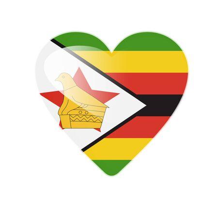 Zimbabwe 3D heart shaped flag photo