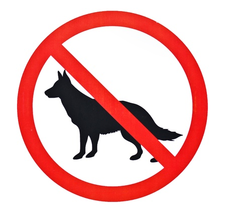 stay alert: No dogs sign