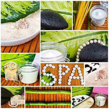 collage spa: Spa collage - Hermosas im�genes conceptuales Foto de archivo