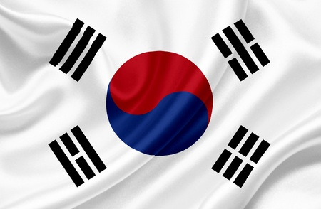 south korea flag: South Korea waving flag Stock Photo