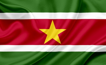 Suriname: Suriname waving flag Stock Photo