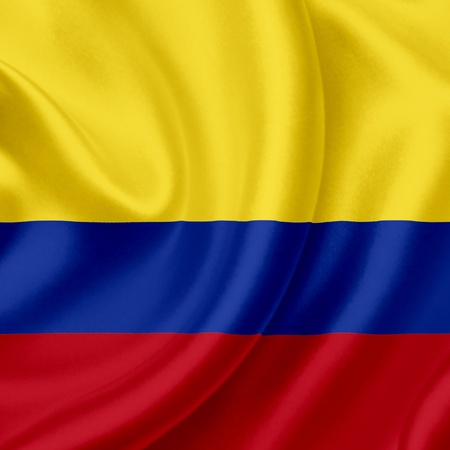 patriotic border: Colombia waving flag Stock Photo