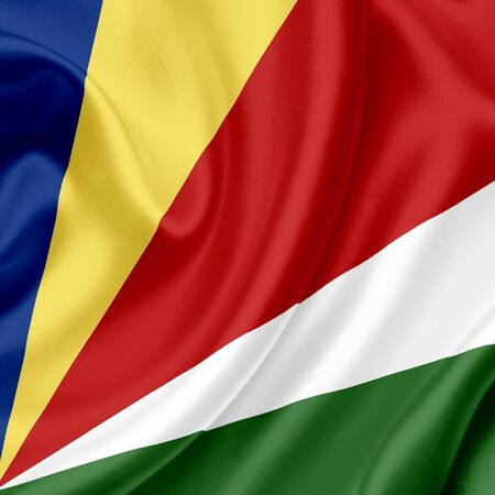 seychelles: Seychelles waving flag Stock Photo