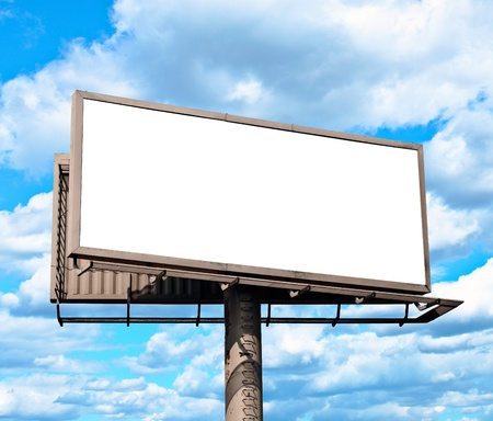 Empty billboard and blue sky photo
