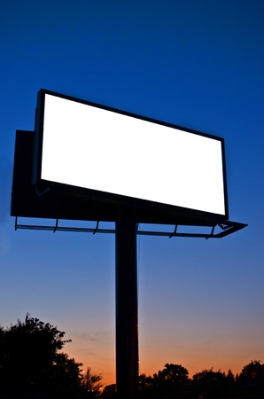Blank billboard at night photo