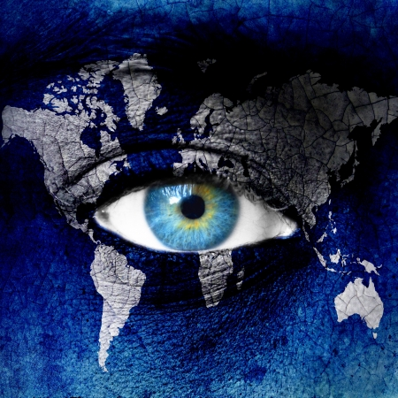 futuristic nature: Planet earth and blue human eye  Stock Photo
