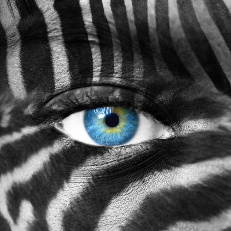 Human face with Zebra pattern - Save endangered species concept Stock Photo - 13737679