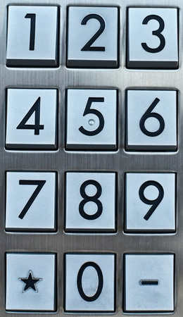 cell phone booth: Metal number pad  Stock Photo