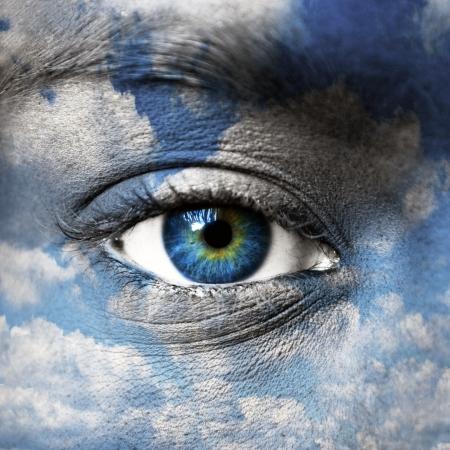 nirvana: Blue eye with blue sky pattern - Spiritual concept