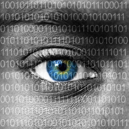 Blue eye extreme close up and binary numbers Stock Photo - 13945463
