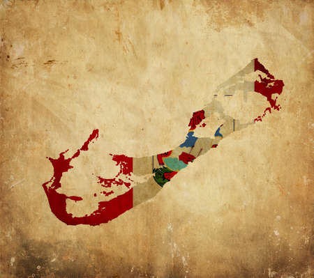 bermuda: Vintage map of Bermuda on grunge paper