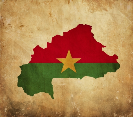 burkina faso: Vintage map of Burkina Faso on grunge paper