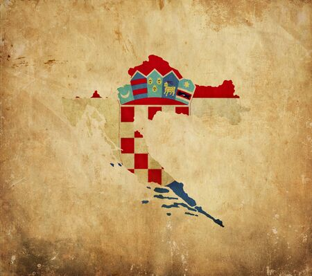 Vintage map of Croatia on grunge paper photo