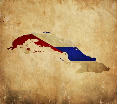Vintage map of Cuba  on grunge paper photo