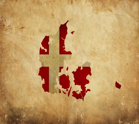 Vintage map of Denmark on grunge paper photo