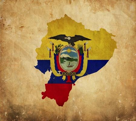 republic of ecuador: Vintage map of Ecuador on grunge paper