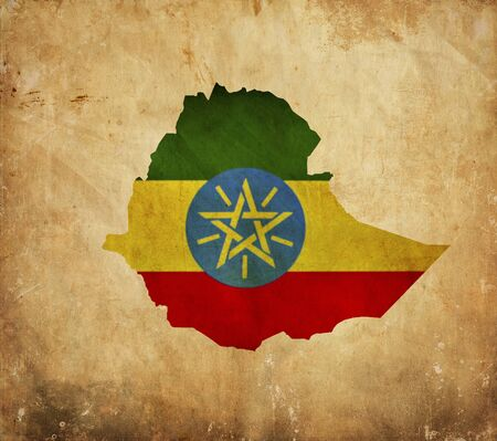 ethiopia: Vintage map of Ethiopia on grunge paper