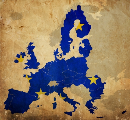 Map of European Union countries on vintage paper photo