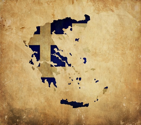 Vintage map of Greece on grunge paper photo
