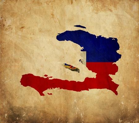 haiti: Vintage map of Haiti on grunge paper