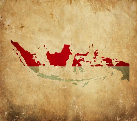 Vintage map of Indonesia on grunge paper photo