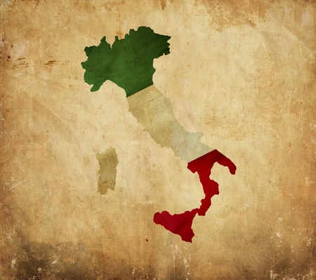 Vintage map of Italy on grunge paper photo