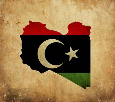 Vintage map of Libya on grunge paper photo