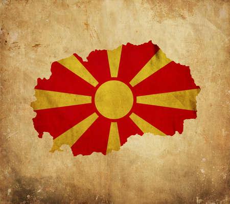 macedonia: Vintage map of Macedonia on grunge paper Stock Photo