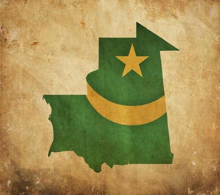 mauritania: Vintage map of Mauritania on grunge paper