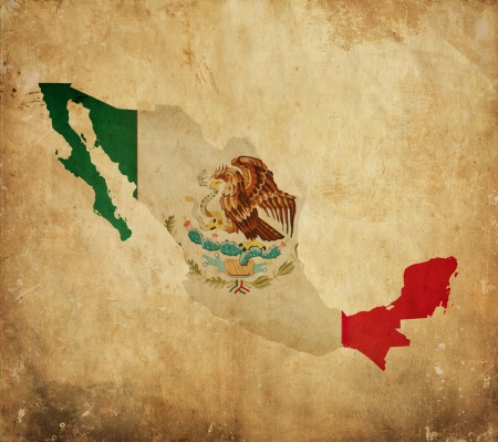 mexico background: Vintage map of Mexico on grunge paper