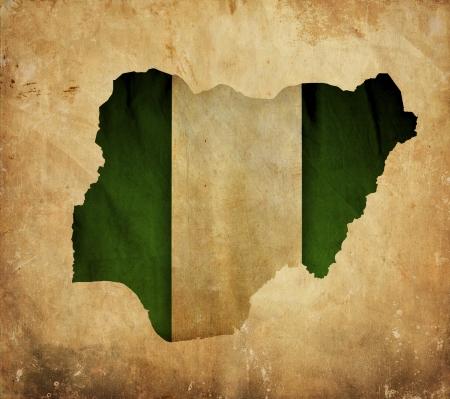 nigeria: Vintage map of Nigeria on grunge paper