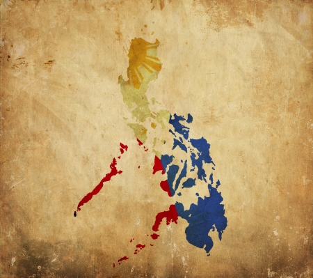 Vintage map of Philippines on grunge paper  photo